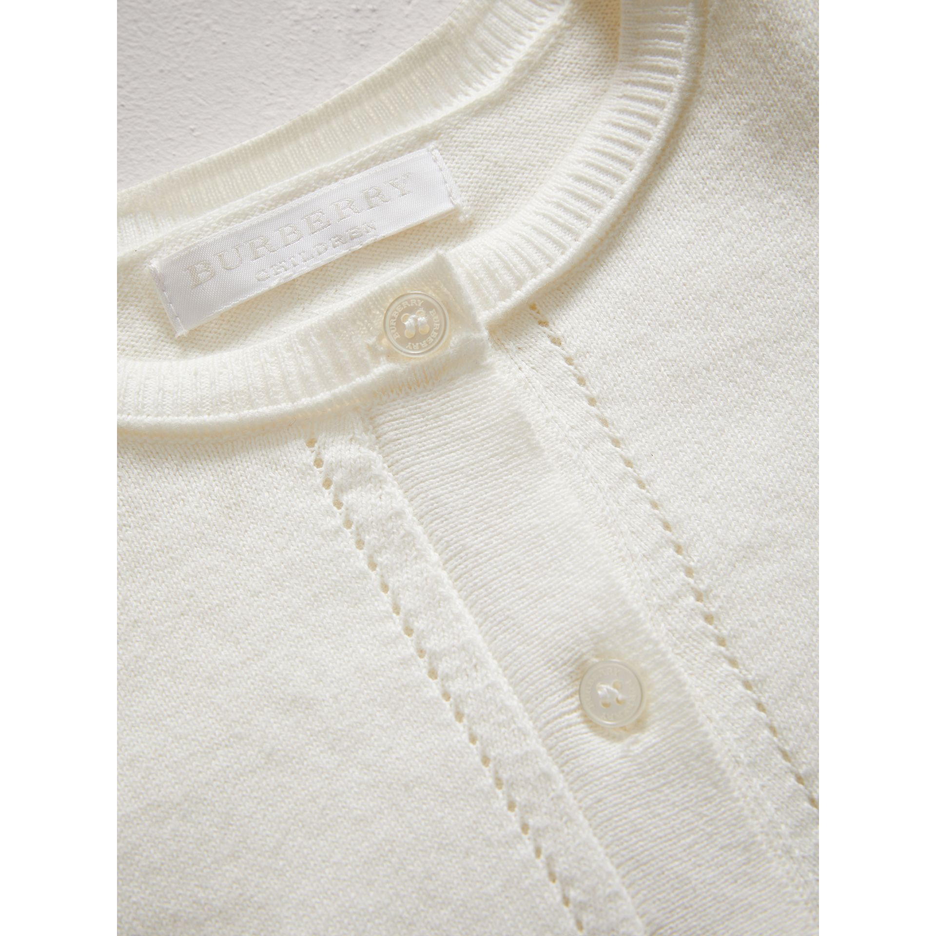 Check Cuff Cotton Knit Cardigan in White - Girl | Burberry - gallery image 1