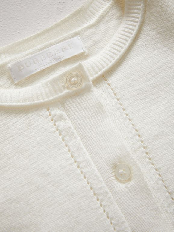 Check Cuff Cotton Knit Cardigan in White | Burberry - cell image 1