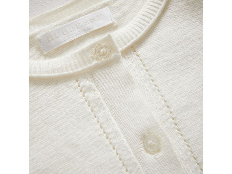 Check Cuff Cotton Knit Cardigan in White - Girl | Burberry United Kingdom - cell image 1