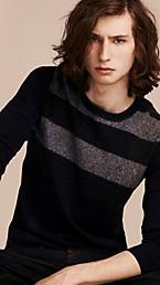 Graphic Check Cashmere Cotton Sweater