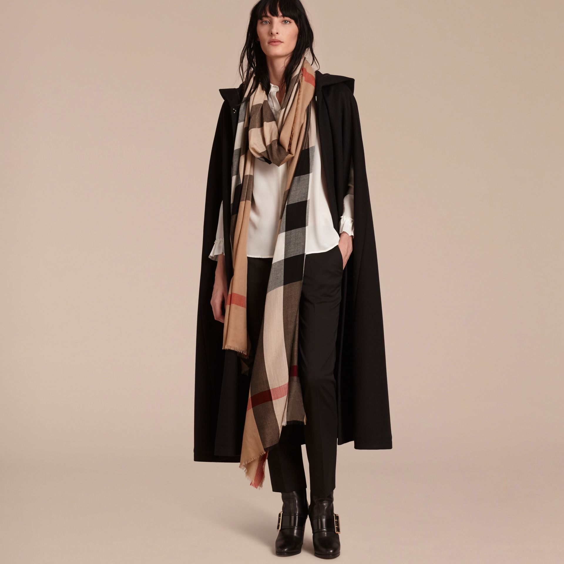 Camel check Extra-long Lightweight Cashmere Check Scarf - gallery image 3