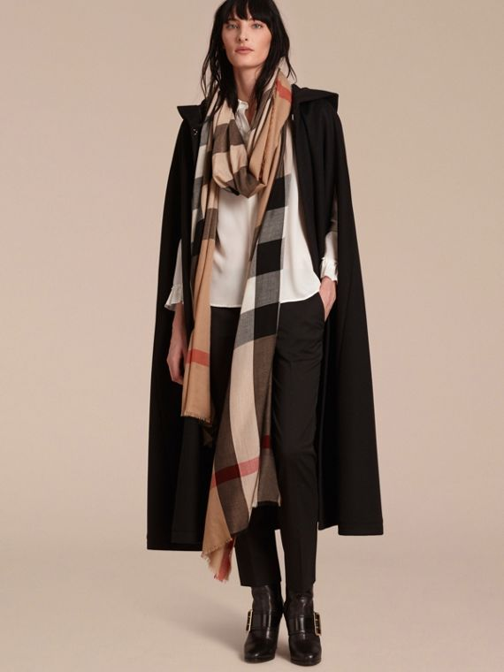 Extra-long Lightweight Cashmere Check Scarf in Camel | Burberry - cell image 2