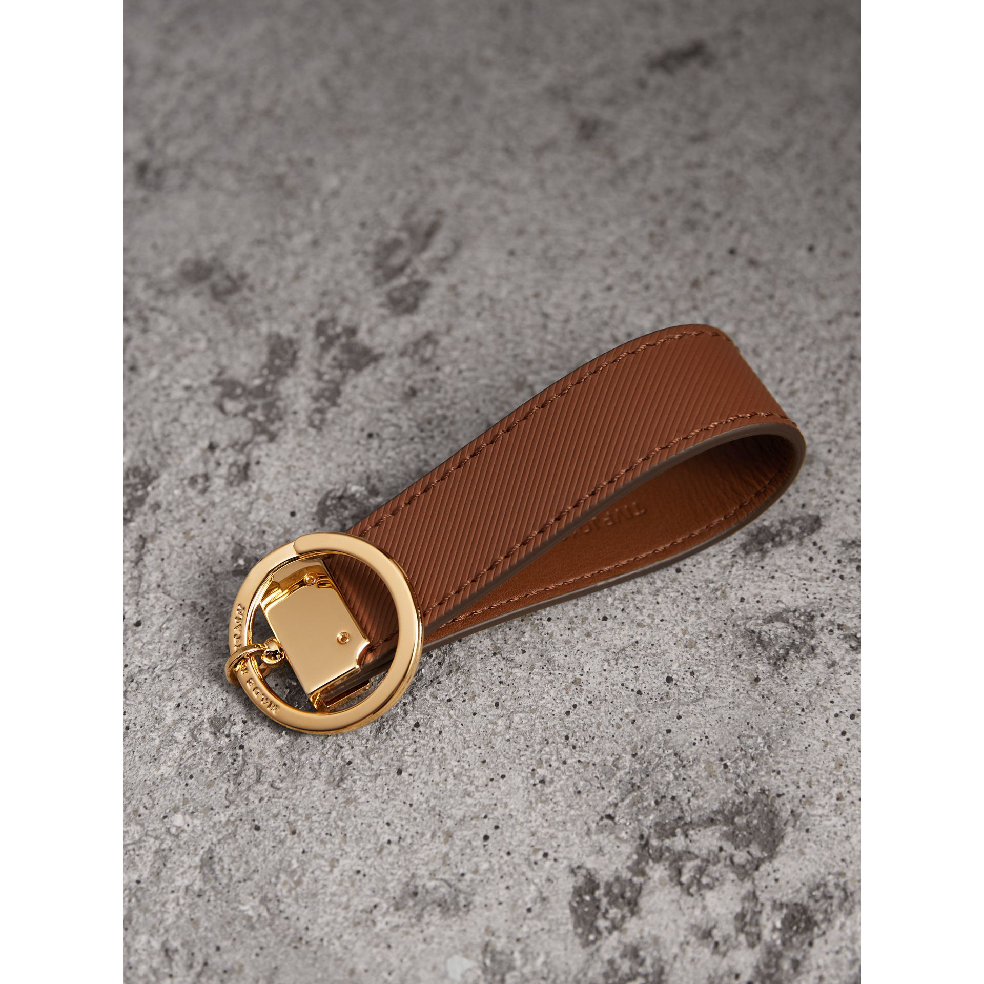 Trench Leather Key Ring in Tan | Burberry United Kingdom - gallery image 2