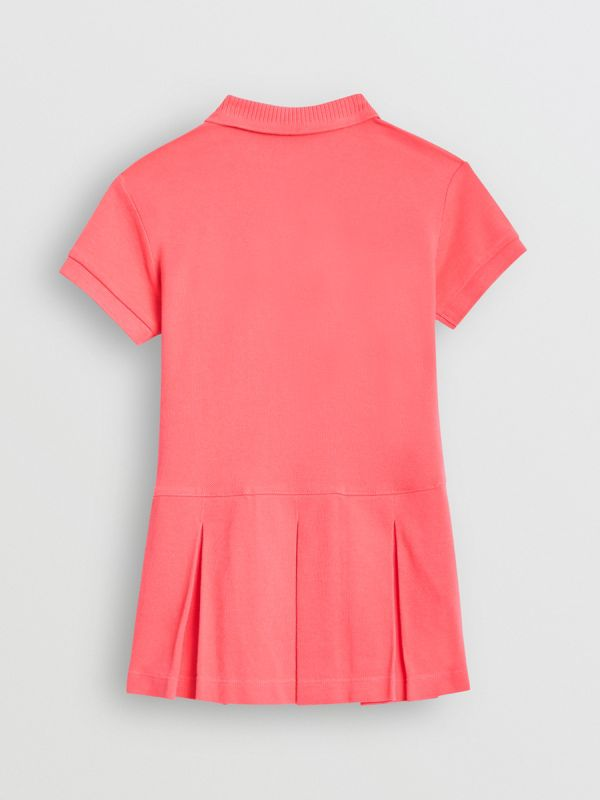 EKD Logo Cotton Polo Dress in Bright Pink | Burberry - cell image 3