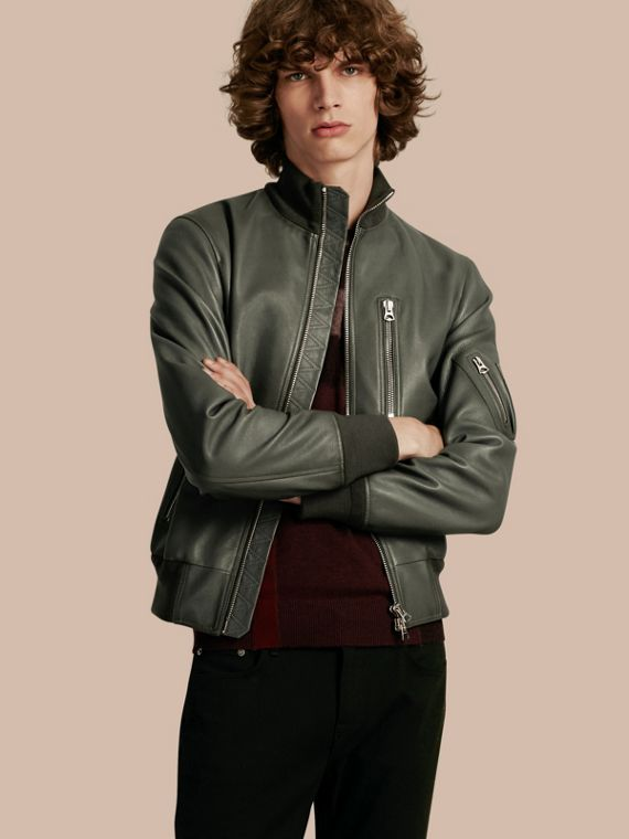 Leather Bomber Jacket with Stand Collar