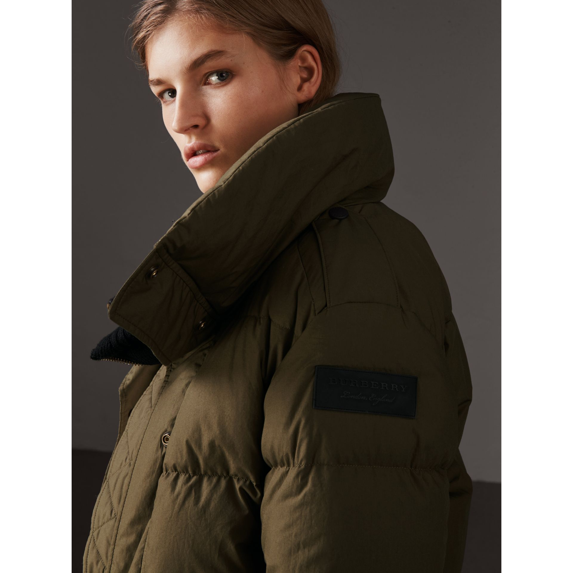 Oversized Rib Knit Collar Down-filled Bomber Jacket in Olive Green - Women | Burberry - gallery image 2
