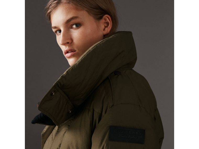 Oversized Rib Knit Collar Down-filled Bomber Jacket in Olive Green - Women | Burberry - cell image 1