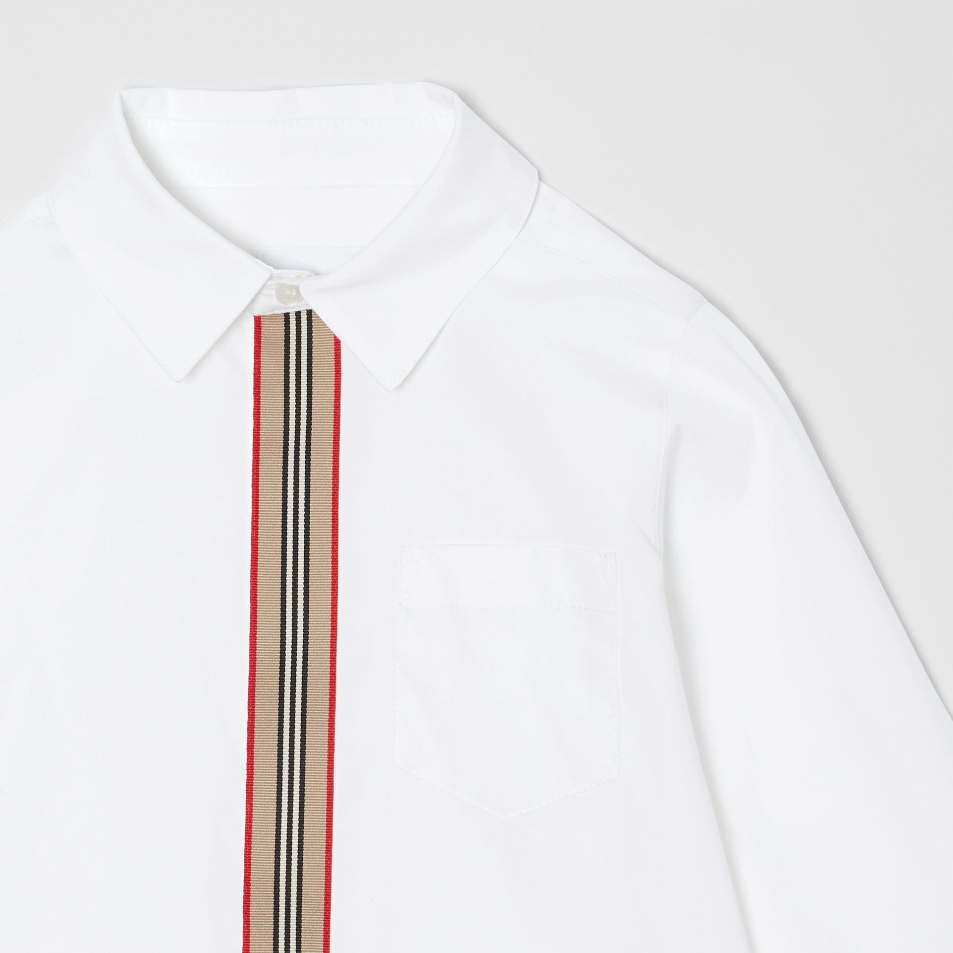 Icon Stripe Trim Stretch Cotton Shirt in White | Burberry United States - gallery image 4