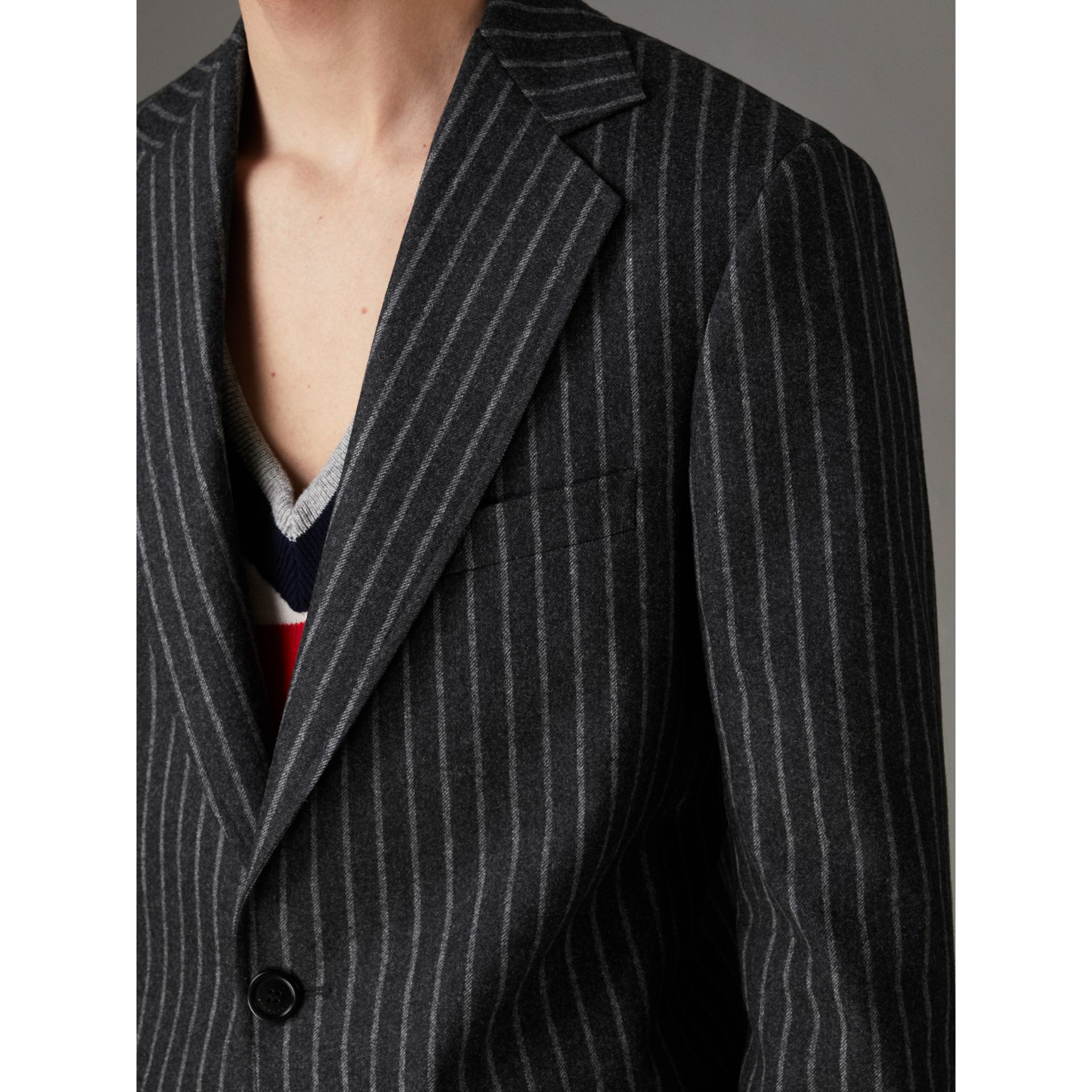 Pinstriped Wool Blend Twill Tailored Jacket in Dark Grey | Burberry Singapore - gallery image 1