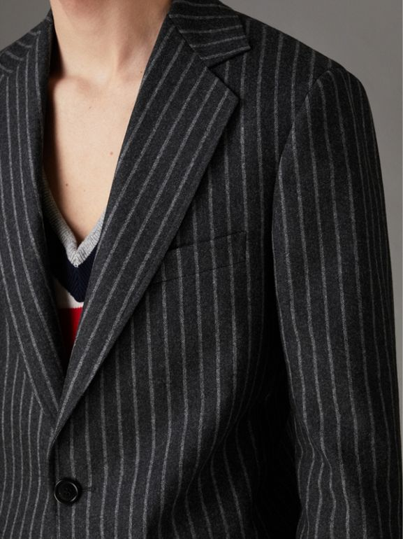 Pinstriped Wool Blend Twill Tailored Jacket in Dark Grey | Burberry - cell image 1