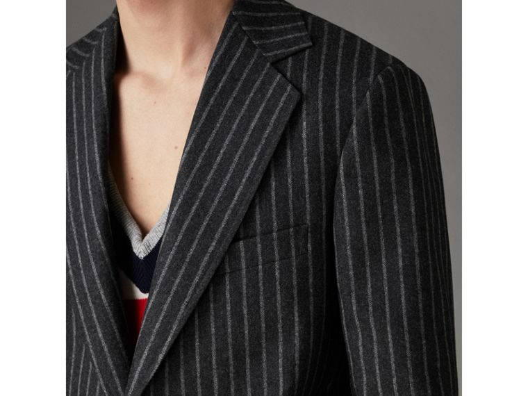 Pinstriped Wool Blend Twill Tailored Jacket in Dark Grey | Burberry Canada - cell image 1