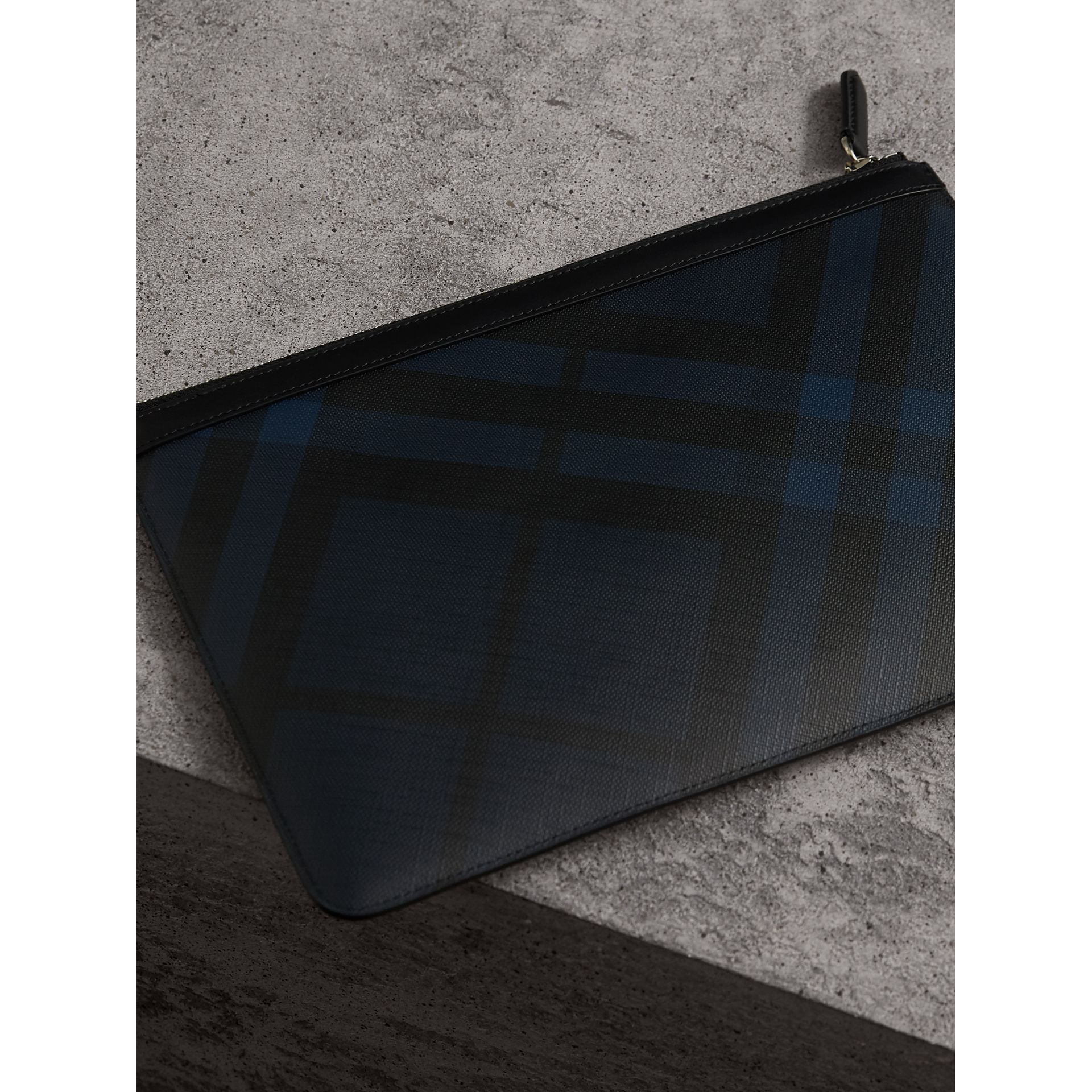 Zipped London Check Pouch in Navy/black - Men | Burberry - gallery image 4