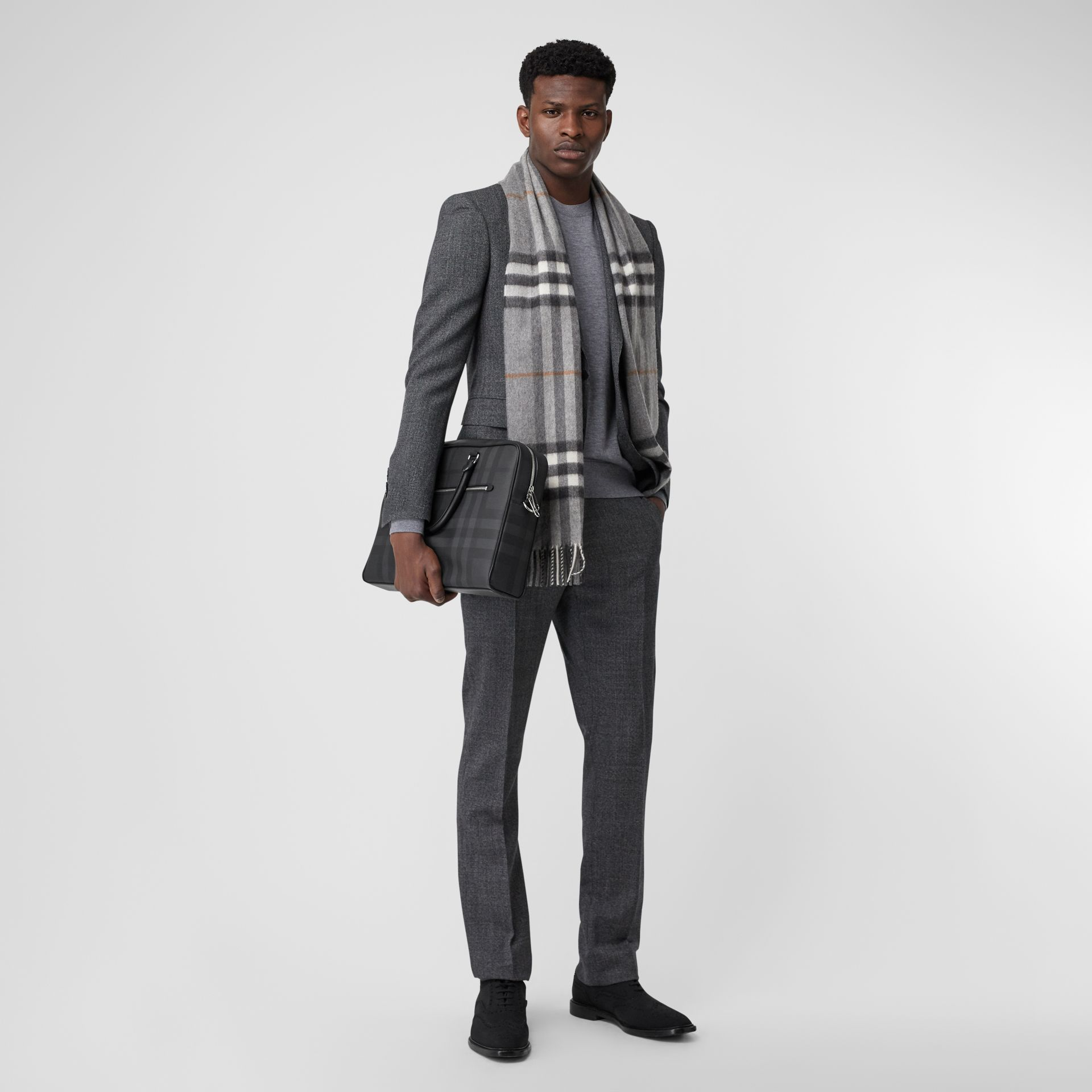 The Classic Check Cashmere Scarf in Grey | Burberry United Kingdom - gallery image 7