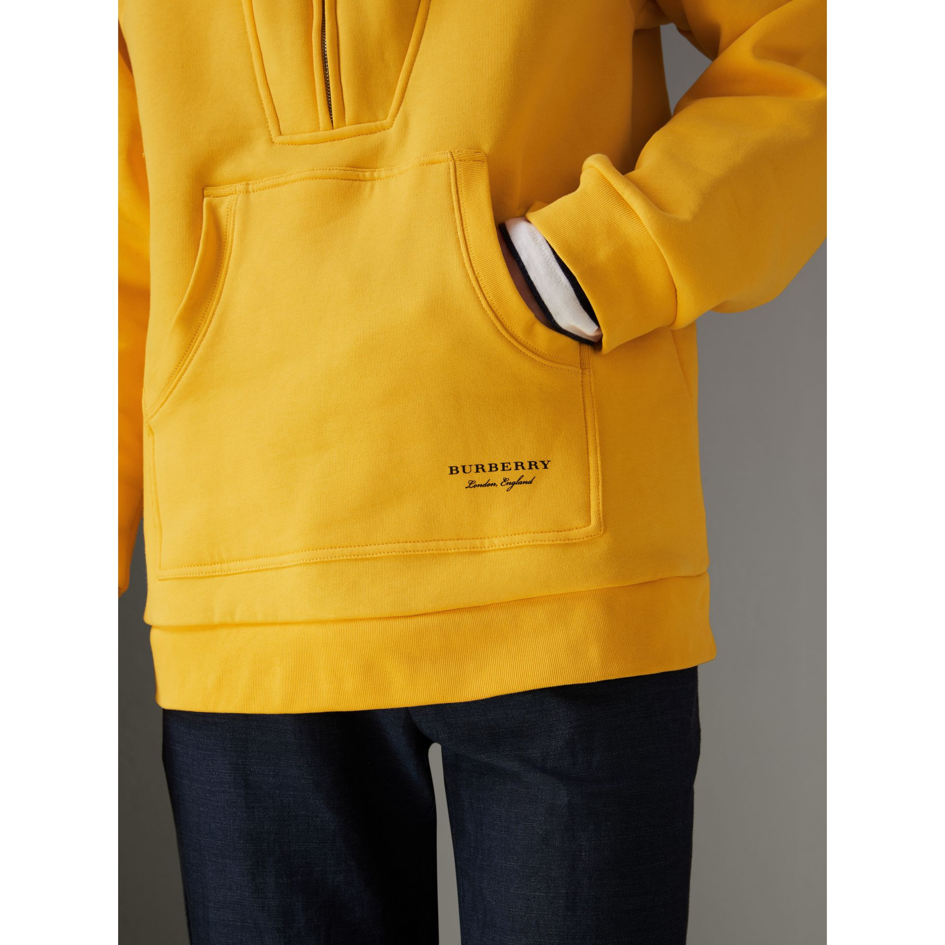 Oversized Sweatshirt Half-zip Hoodie in Bright Yellow - Men | Burberry United Kingdom - gallery image 1