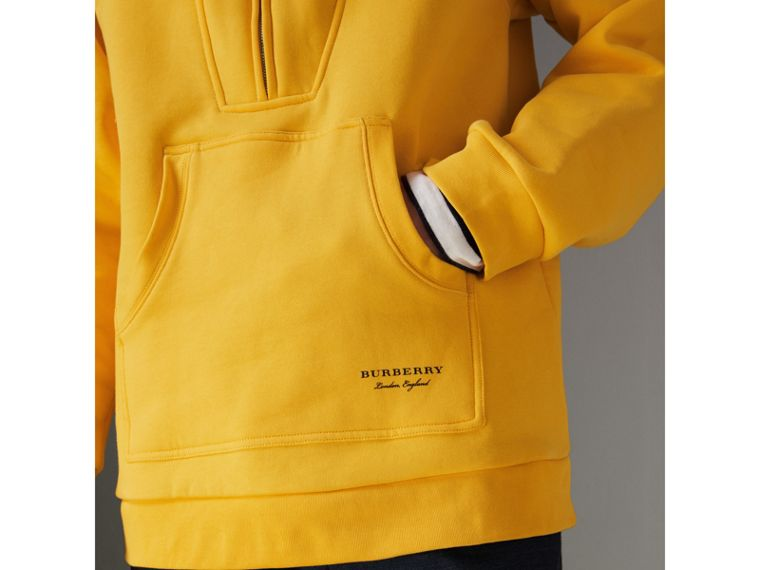 Oversized Sweatshirt Half-zip Hoodie in Bright Yellow - Men | Burberry United Kingdom - cell image 1