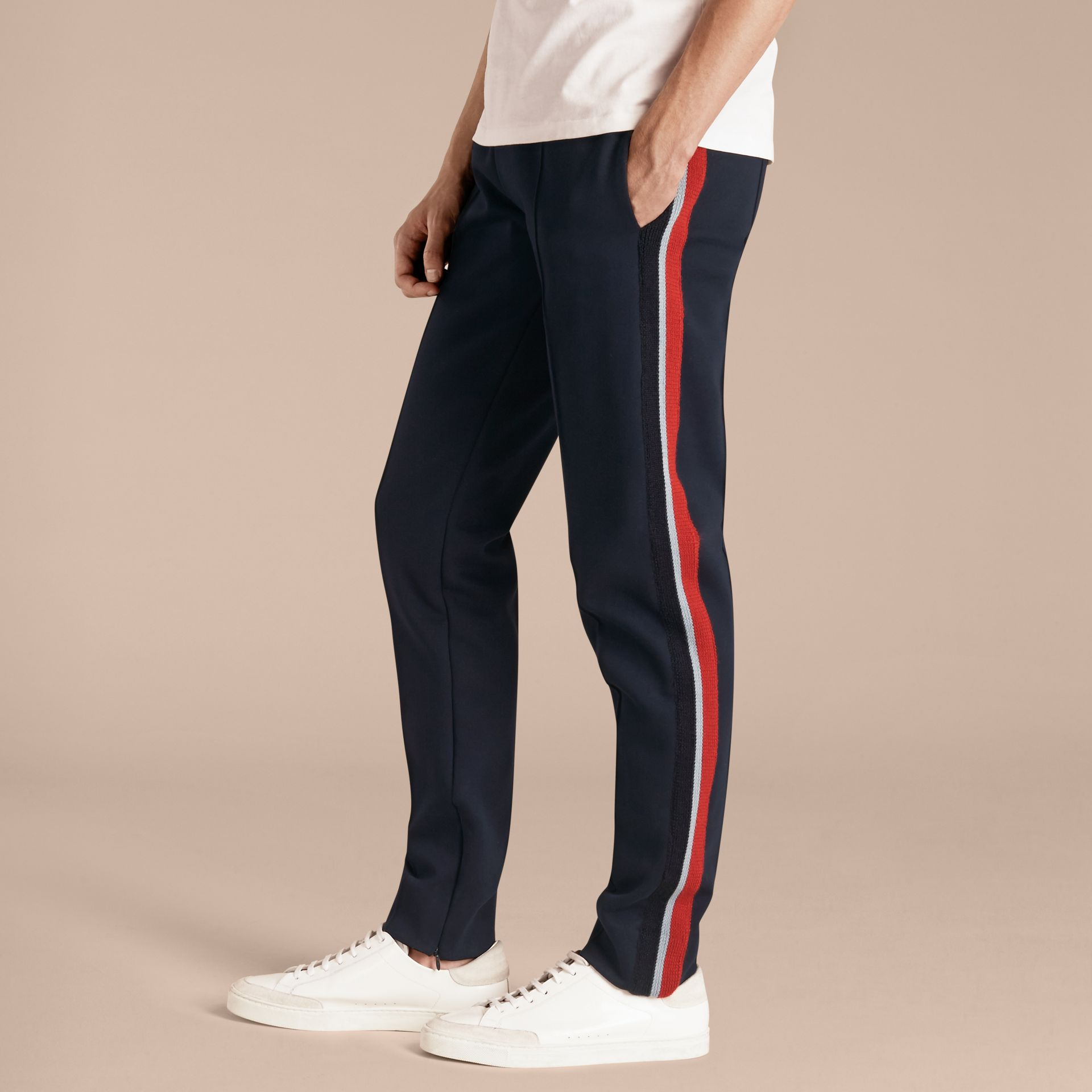 Navy Sports-striped Cotton Blend Sweat Pants - gallery image 6