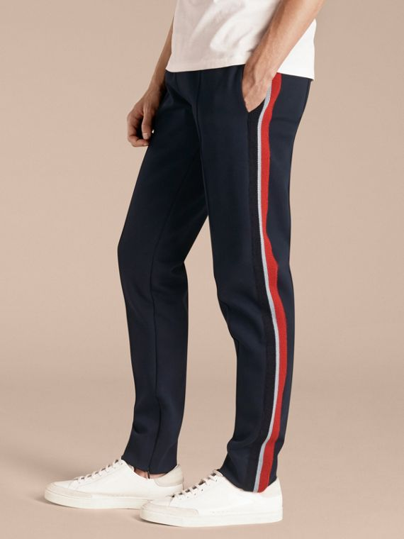 Sports-striped Cotton Blend Sweat Pants Navy