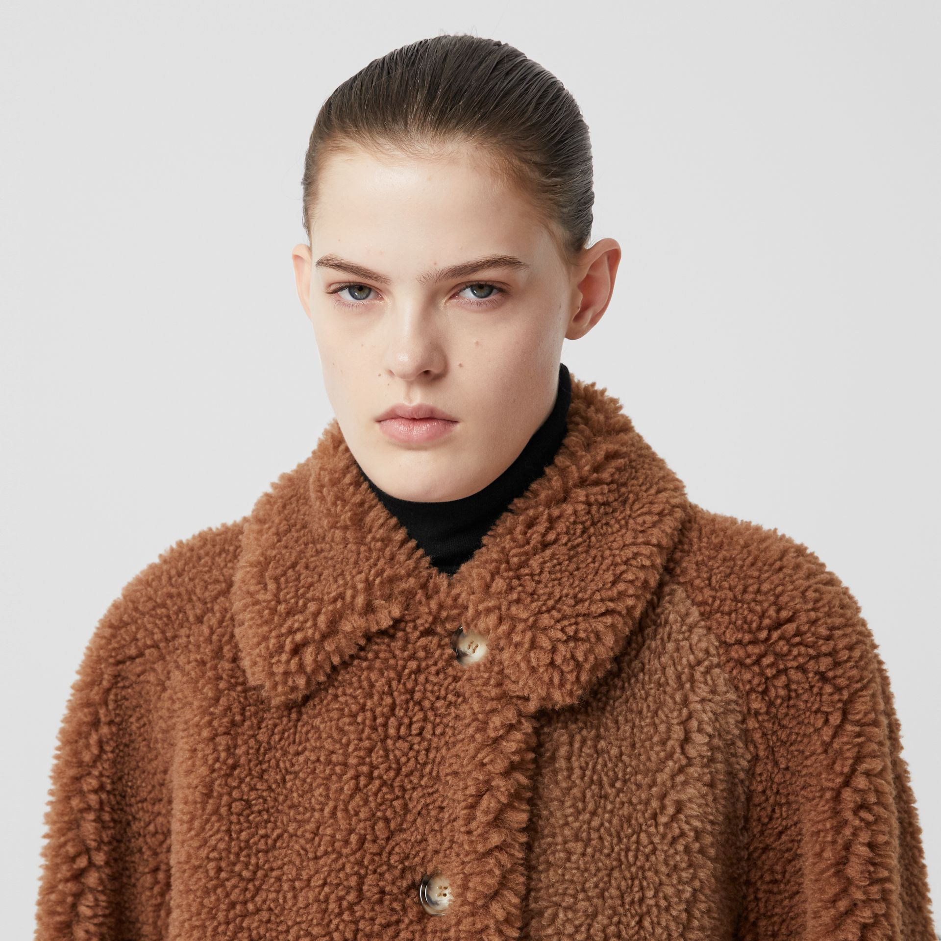 Faux Shearling and Camel Hair Blend Coat in Brown - Women | Burberry United Kingdom - gallery image 1