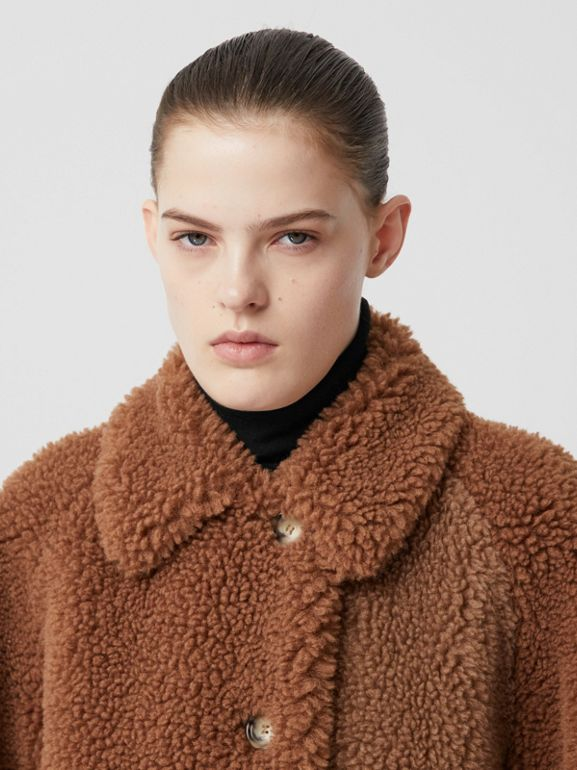 Faux Shearling and Camel Hair Blend Coat in Brown - Women | Burberry United Kingdom - cell image 1