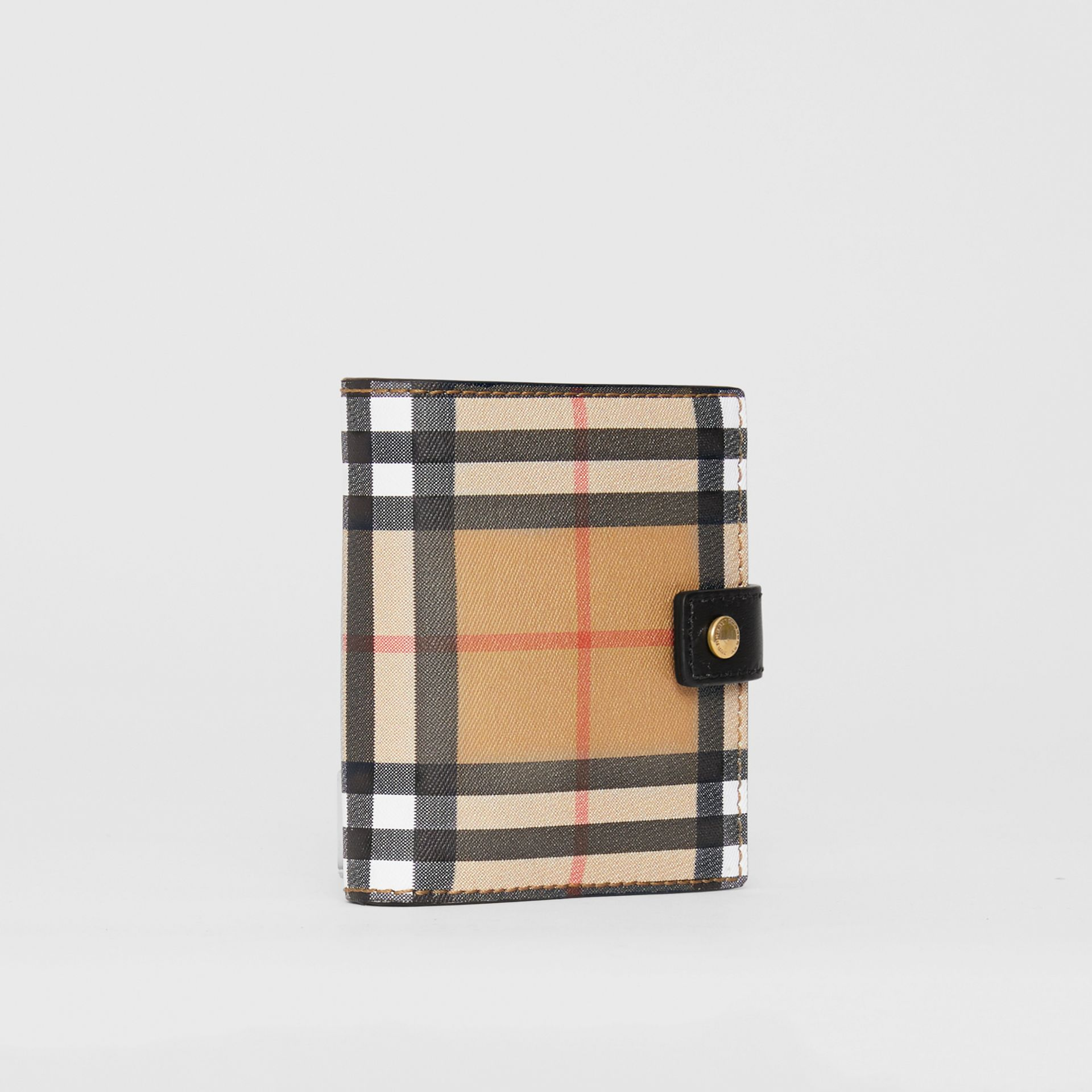 Small Vintage Check and Leather Folding Wallet in Black - Women | Burberry - gallery image 4