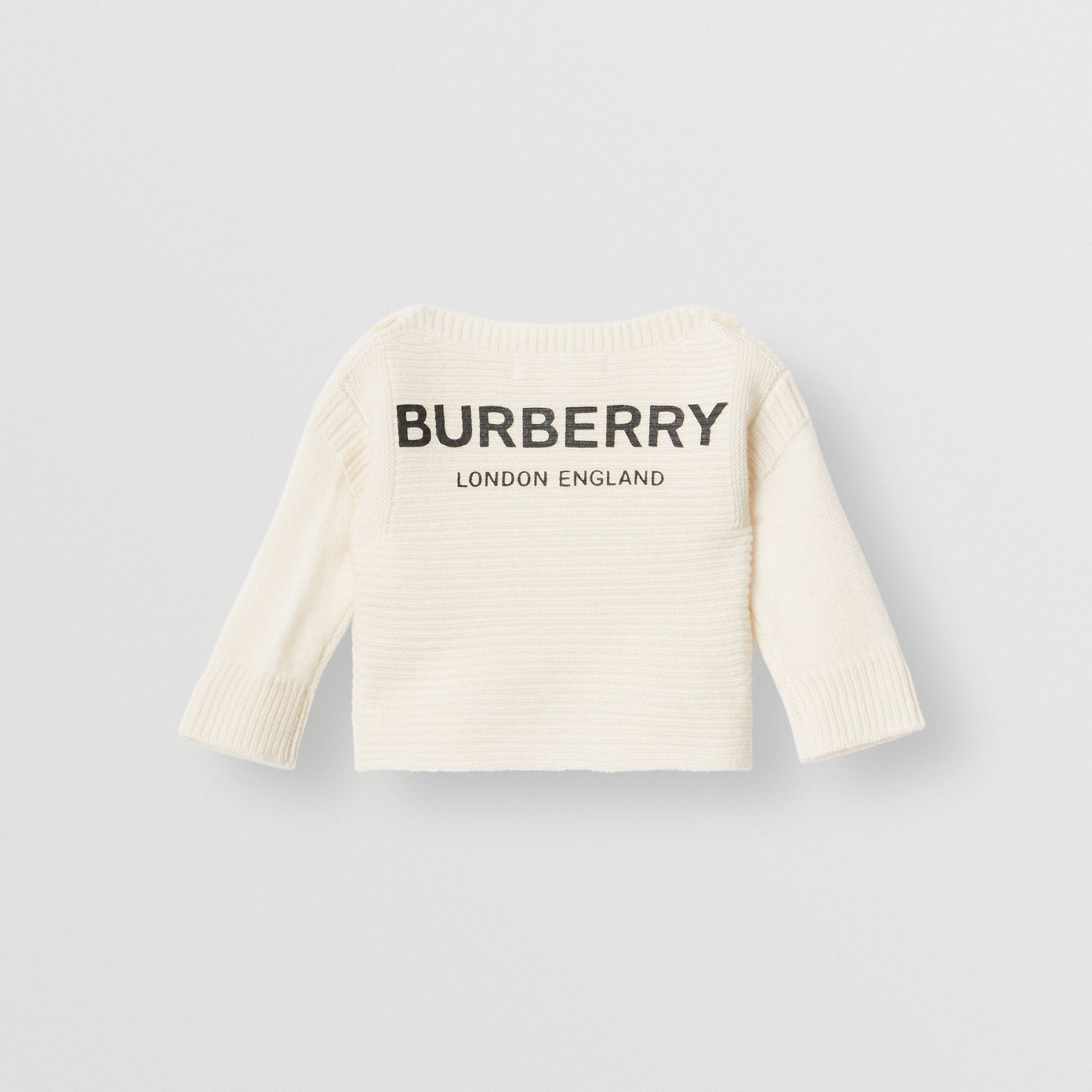 Logo Print Wool Cashmere Six-piece Baby Gift Set in Ivory - Children | Burberry Canada - gallery image 2