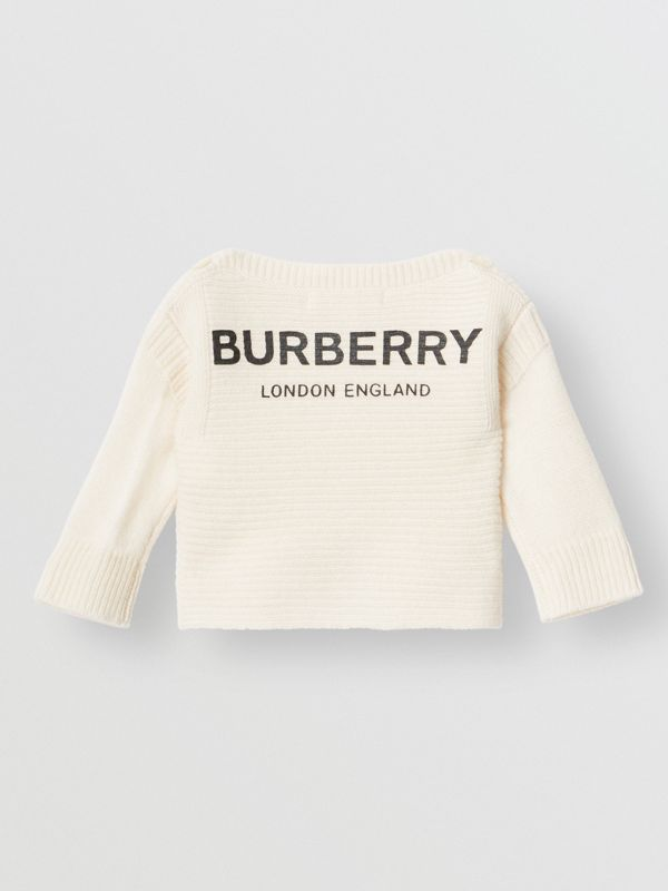 Logo Print Wool Cashmere Six-piece Baby Gift Set in Ivory - Children | Burberry - cell image 2