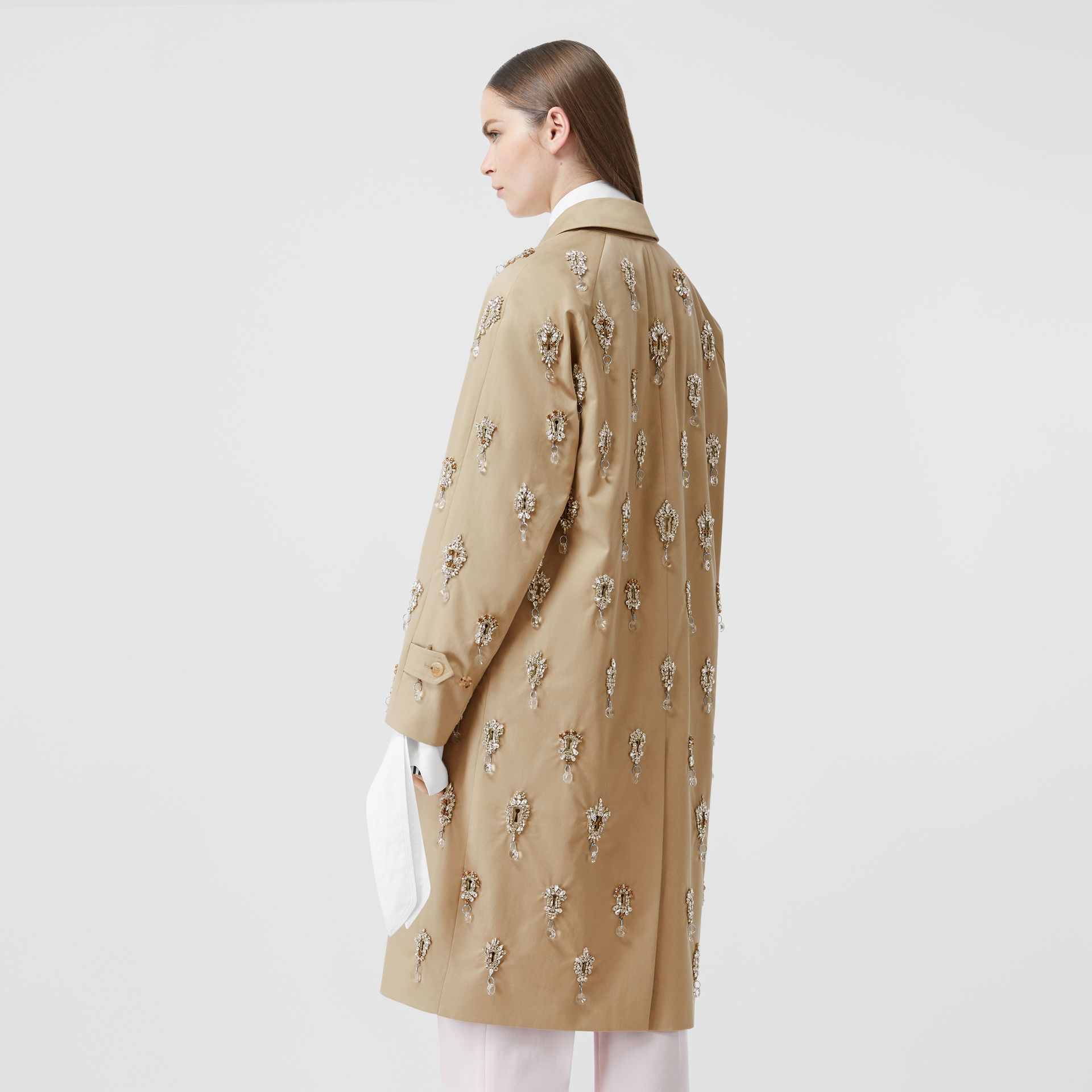 Embellished Cotton Twill Car Coat in Soft Fawn - Women | Burberry - gallery image 2