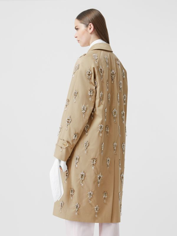 Embellished Cotton Twill Car Coat in Soft Fawn - Women | Burberry - cell image 2