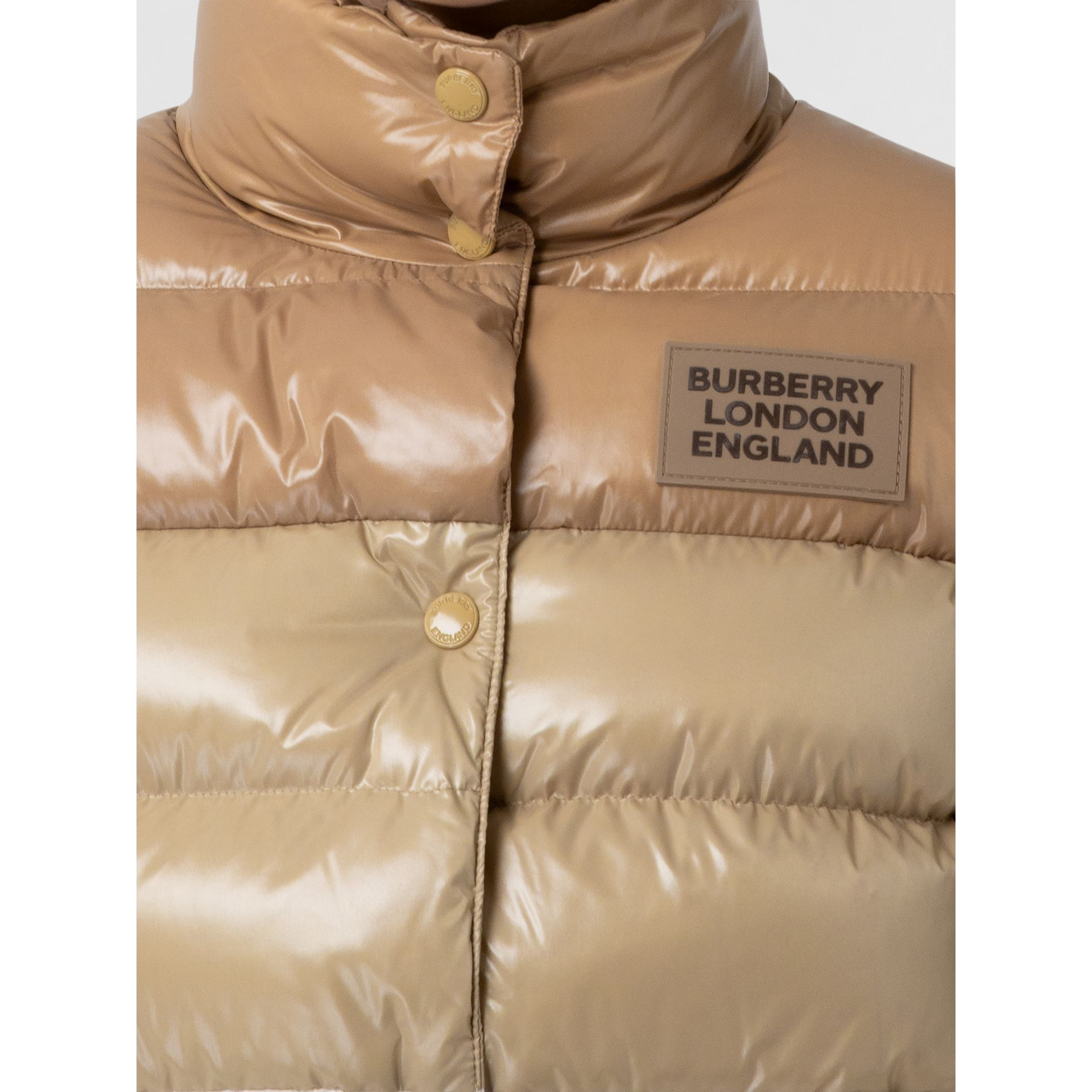 Panelled Nylon Puffer Jacket with Detachable Sleeves in Soft Camel - Women | Burberry - gallery image 4