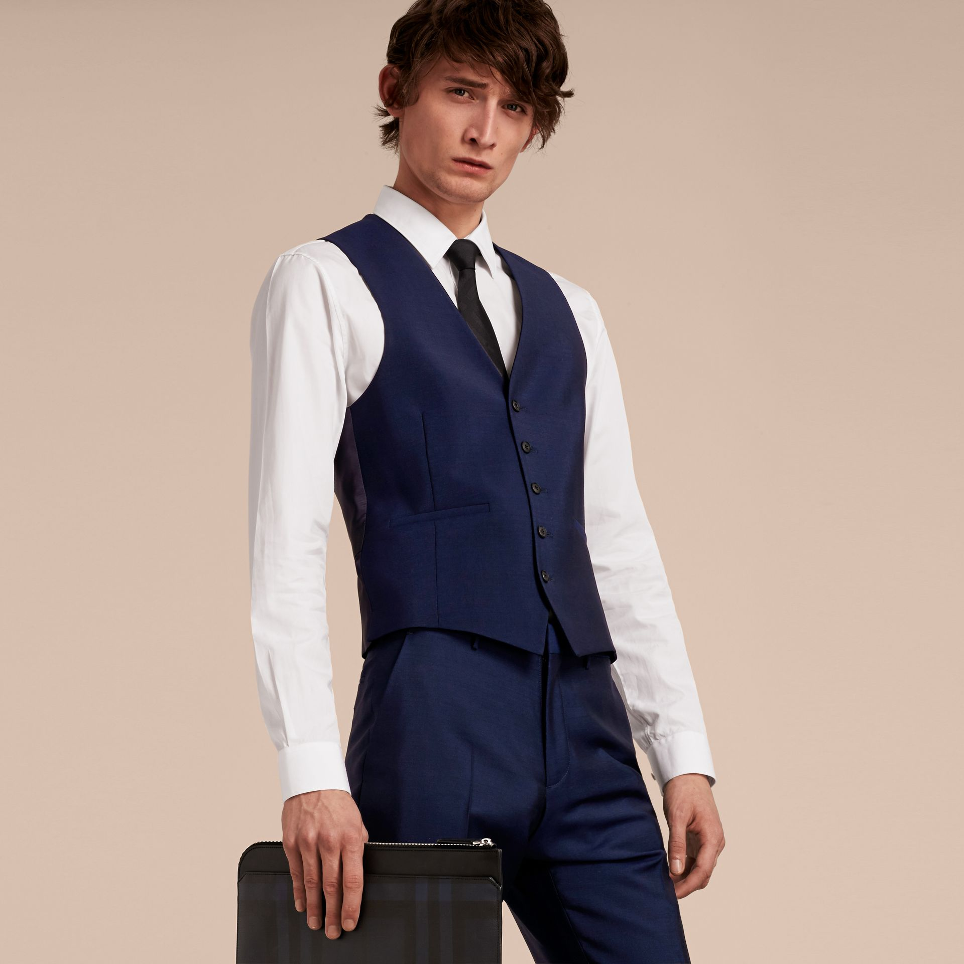 Slim Fit Wool Mohair Waistcoat in Navy - Men | Burberry United States - gallery image 5