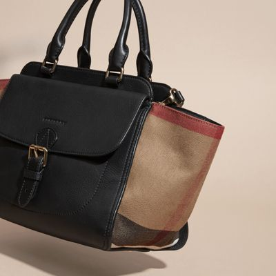 Medium Canvas Check and Leather Tote Bag   Burberry