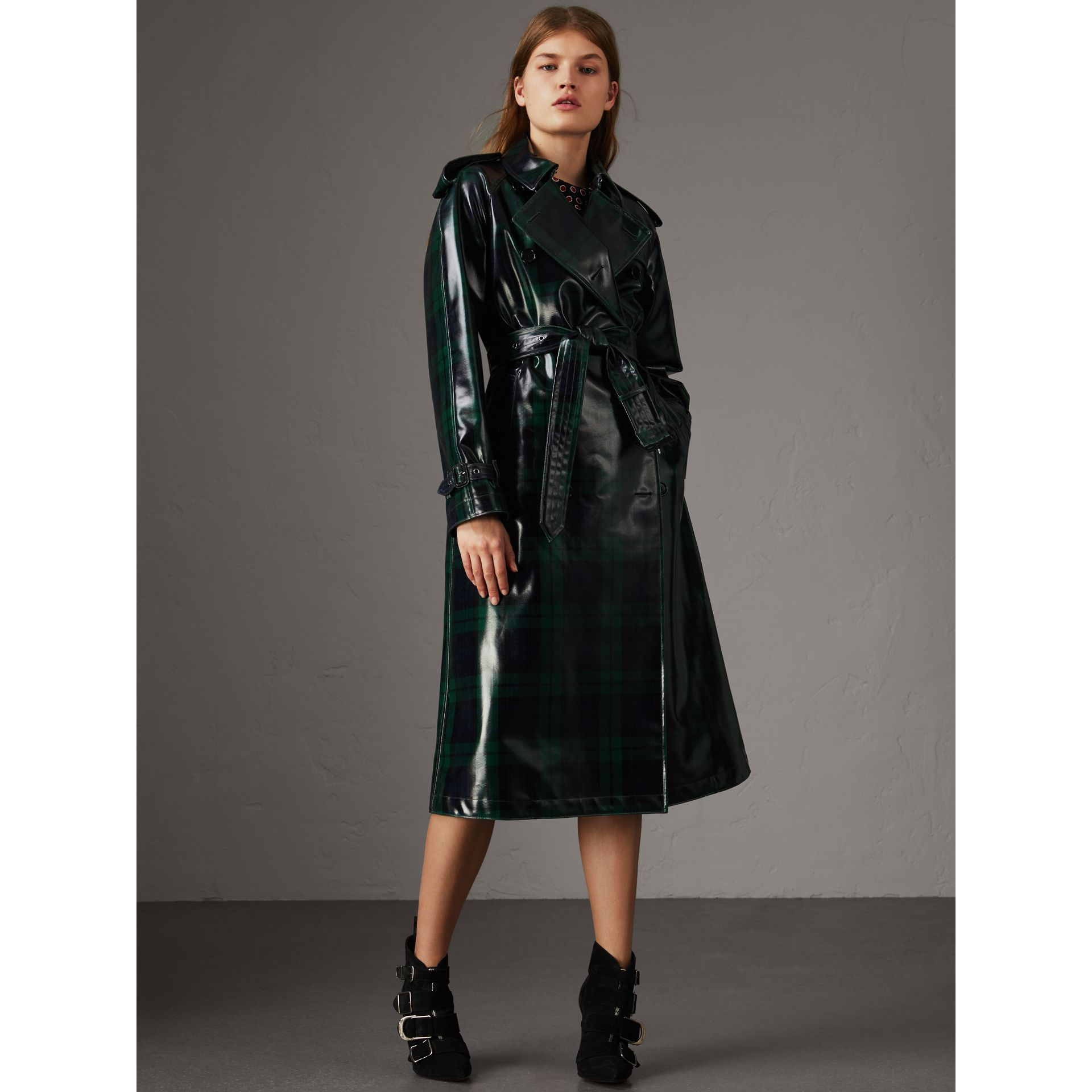 Laminated Tartan Wool Trench Coat in Navy - Women | Burberry - gallery image 1