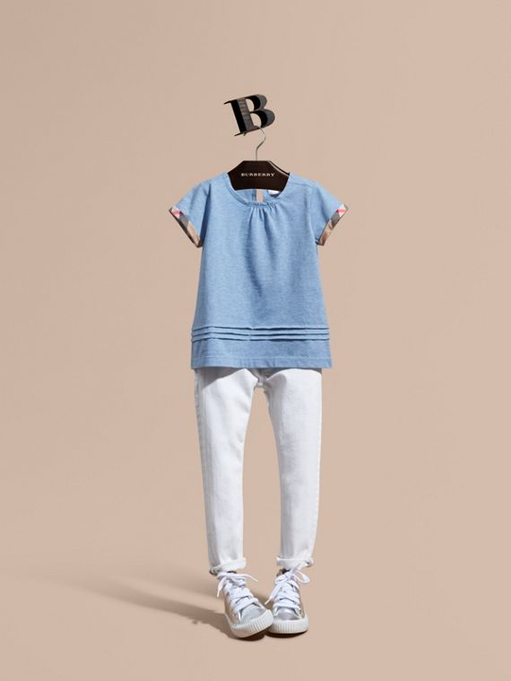 Pleat and Check Detail Cotton T-shirt in Light Blue Melange