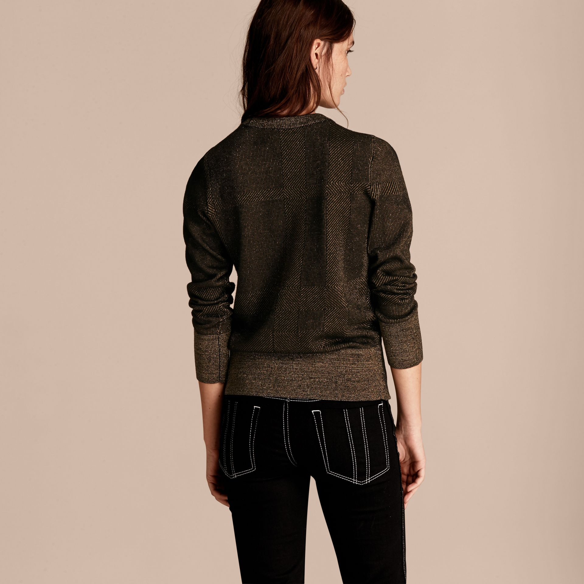 Black Metallic Check Wool Blend Sweater - gallery image 3