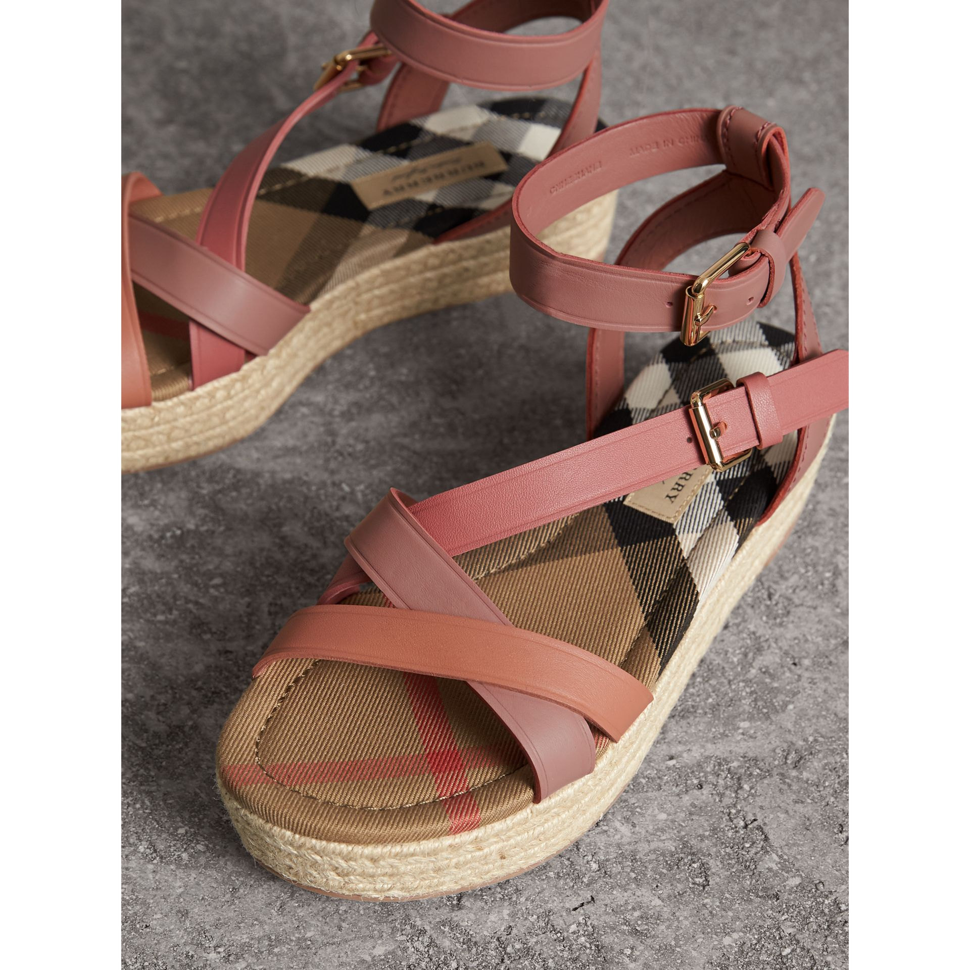 Two-tone Leather Espadrille Sandals in Dusty Pink - Women | Burberry - gallery image 4