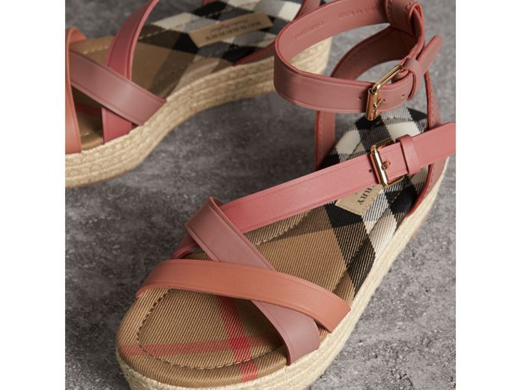 Two-tone Leather Espadrille Sandals in Dusty Pink - Women | Burberry - cell image 4
