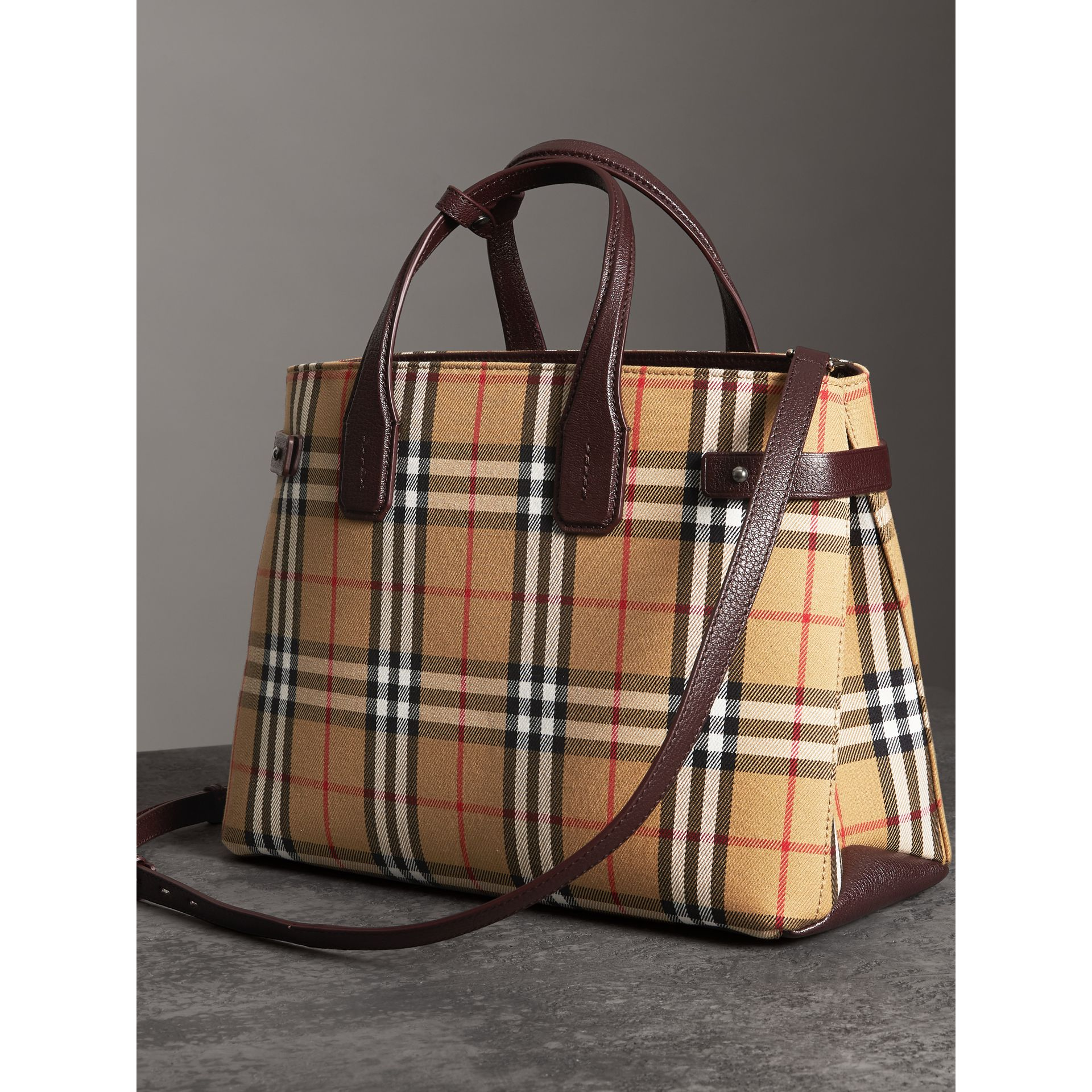 The Medium Banner in Vintage Check and Leather in Deep Claret - Women | Burberry - gallery image 4