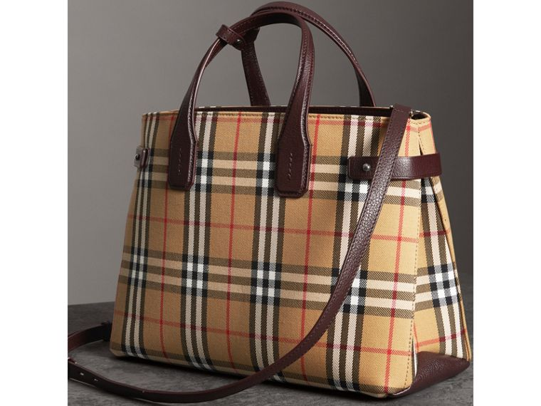 The Medium Banner in Vintage Check and Leather in Deep Claret - Women | Burberry - cell image 4