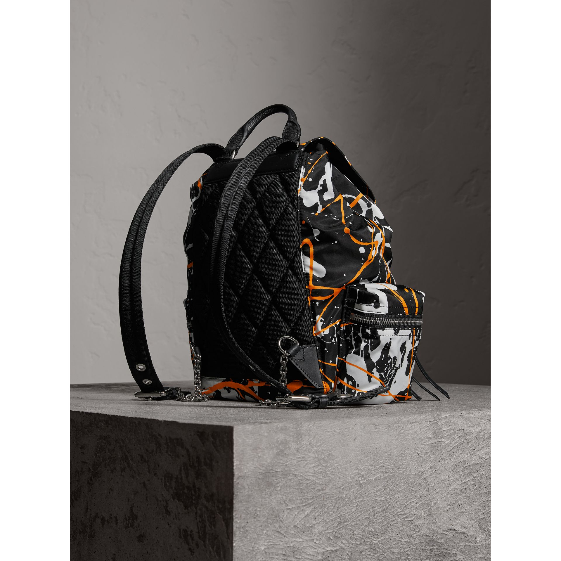 The Medium Rucksack in Splash Print in Black - Women | Burberry United Kingdom - gallery image 3