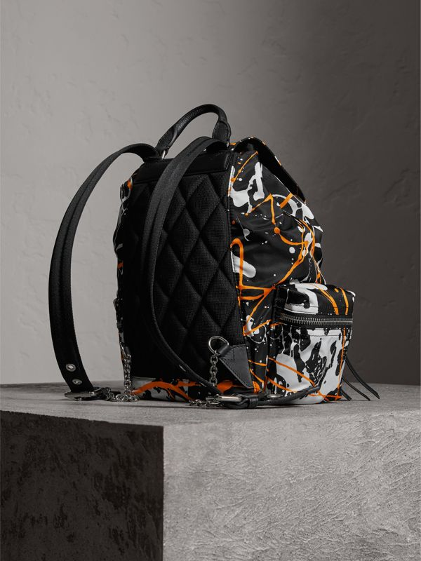 The Medium Rucksack in Splash Print in Black - Women | Burberry United Kingdom - cell image 3