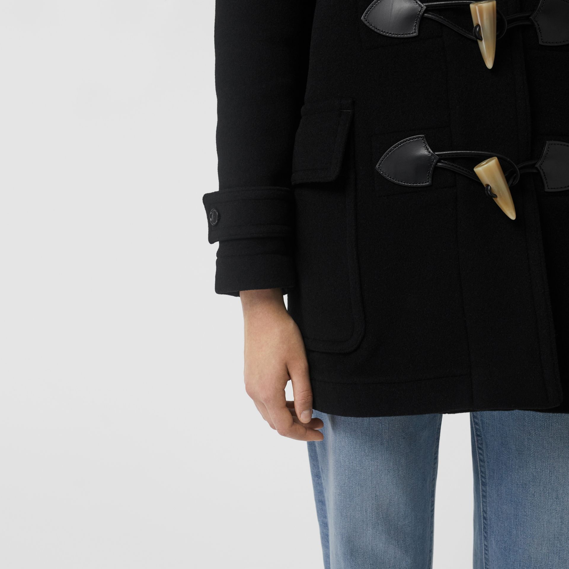 Wool Blend Duffle Coat in Black - Women | Burberry United Kingdom - gallery image 4