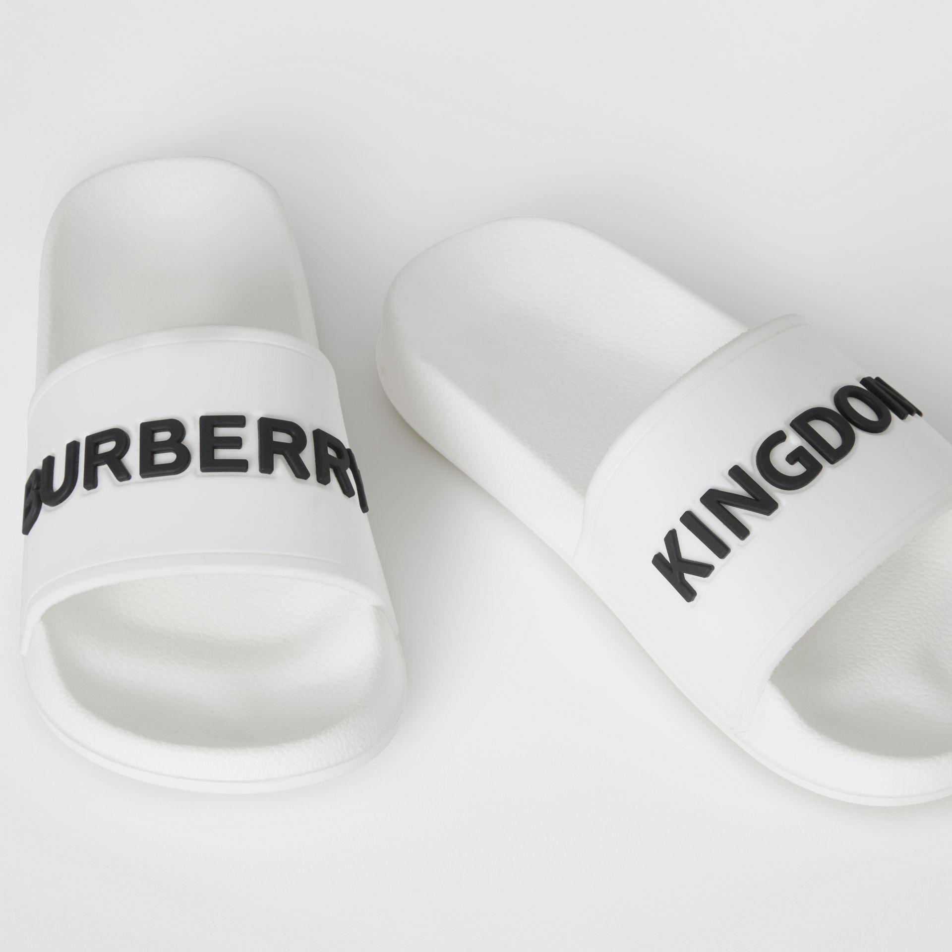 Kingdom Motif Slides in Optic White/black - Children | Burberry Canada - gallery image 1