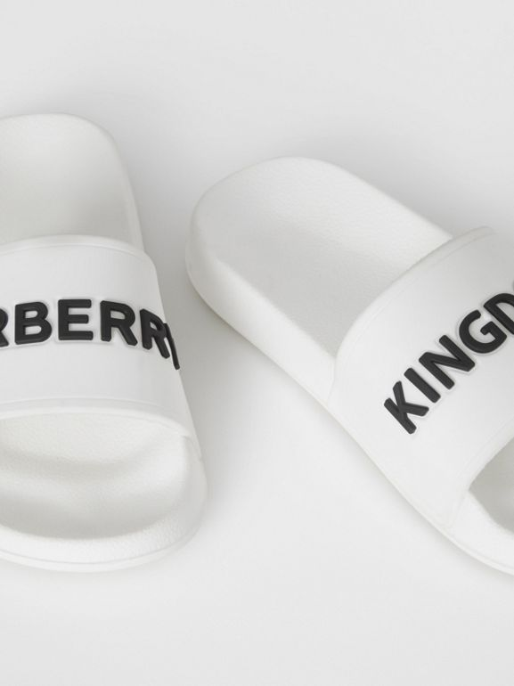 Kingdom Motif Slides in Optic White/black - Children | Burberry - cell image 1