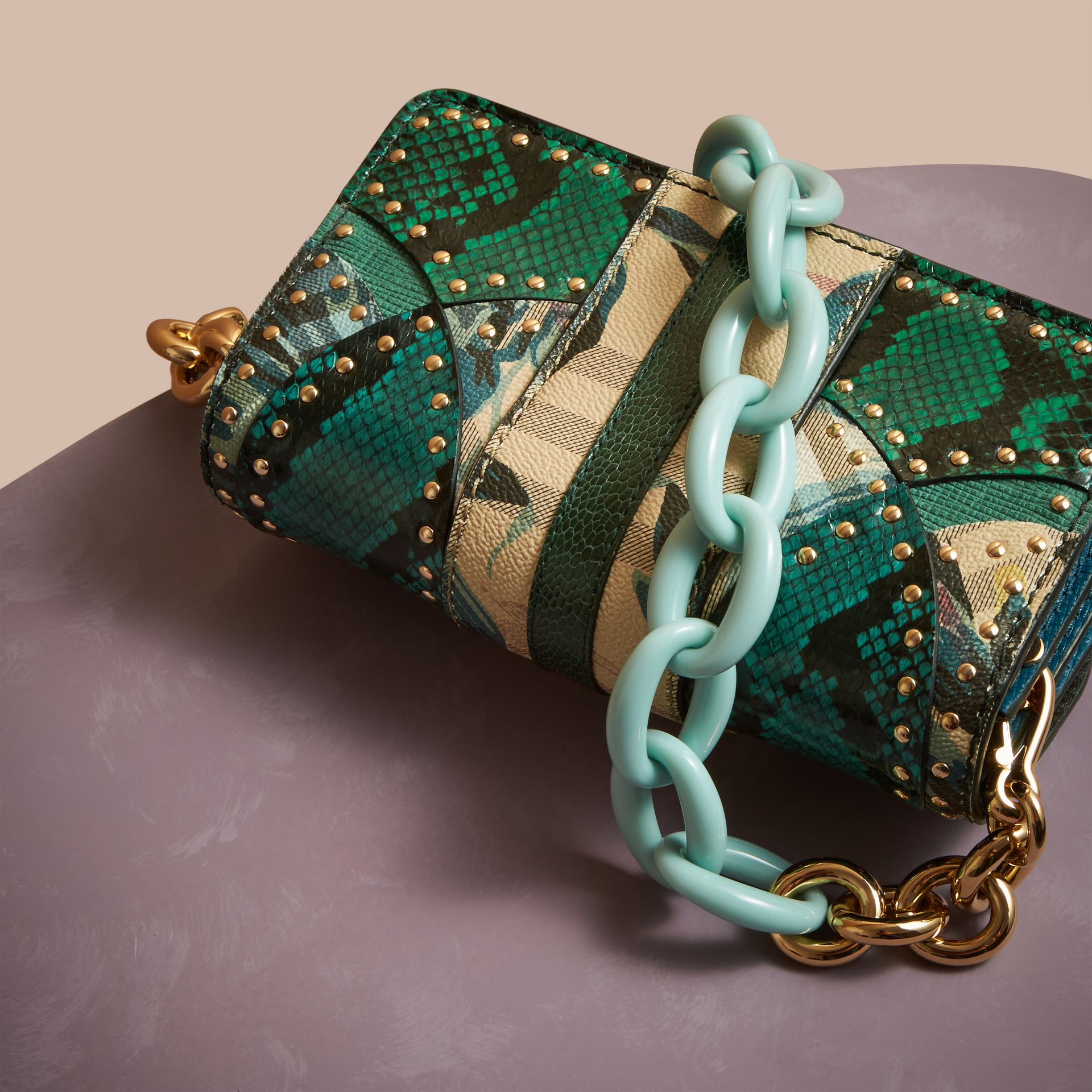 Turquoise The Small Buckle Bag in Riveted Snakeskin and Floral Print - gallery image 4