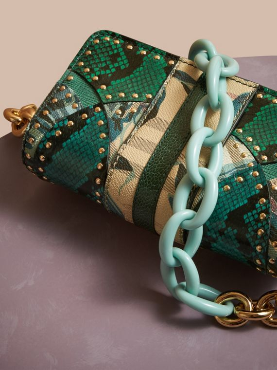 Turquoise The Small Buckle Bag in Riveted Snakeskin and Floral Print - cell image 3