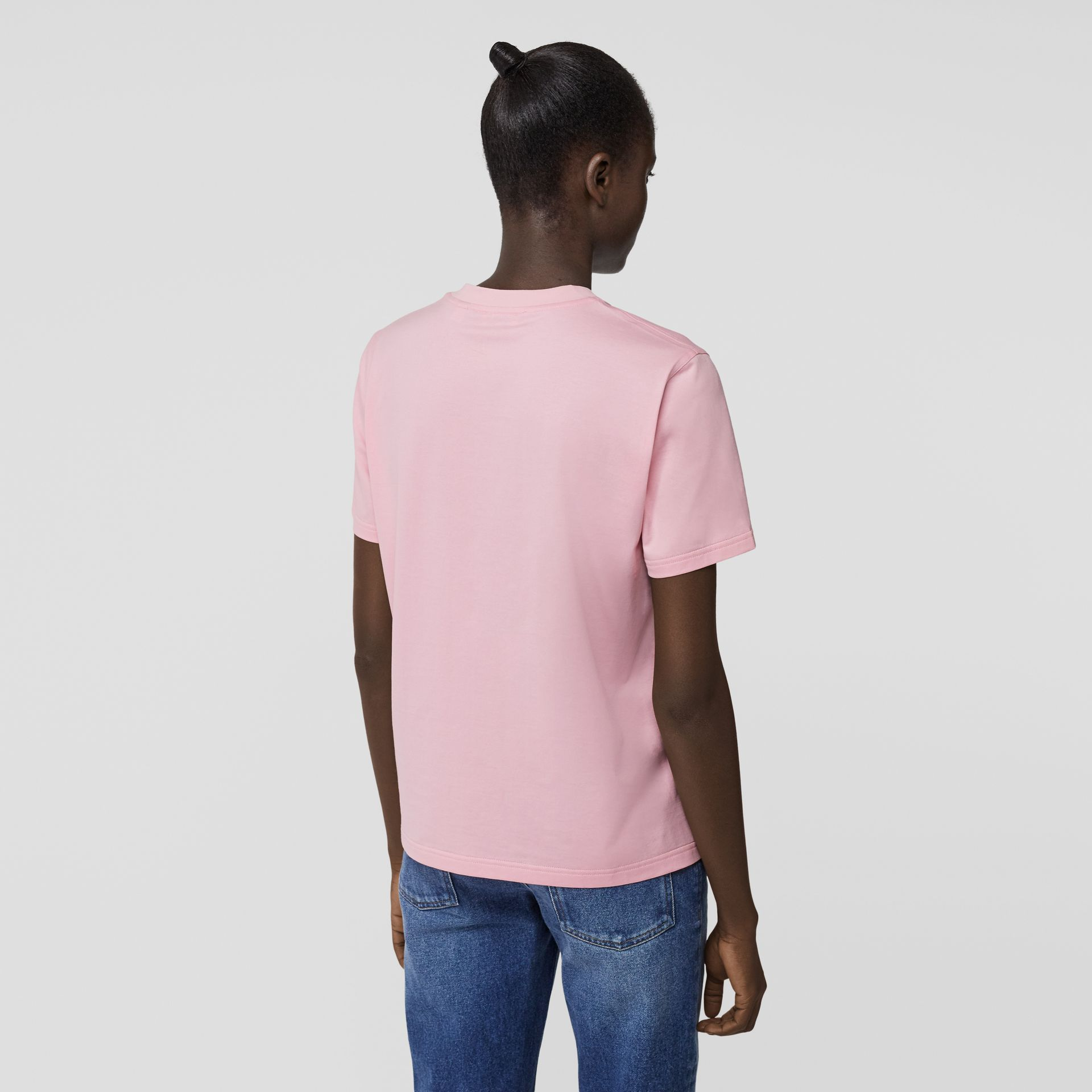 Logo Print Cotton T-shirt in Candy Pink - Women | Burberry - gallery image 2
