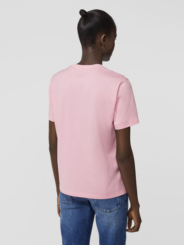 Logo Print Cotton T-shirt in Candy Pink - Women | Burberry - cell image 2