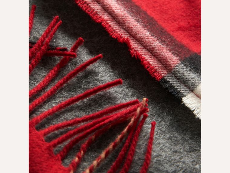 Tartan Panel Detail Cashmere Scarf in Mid Grey | Burberry - cell image 1