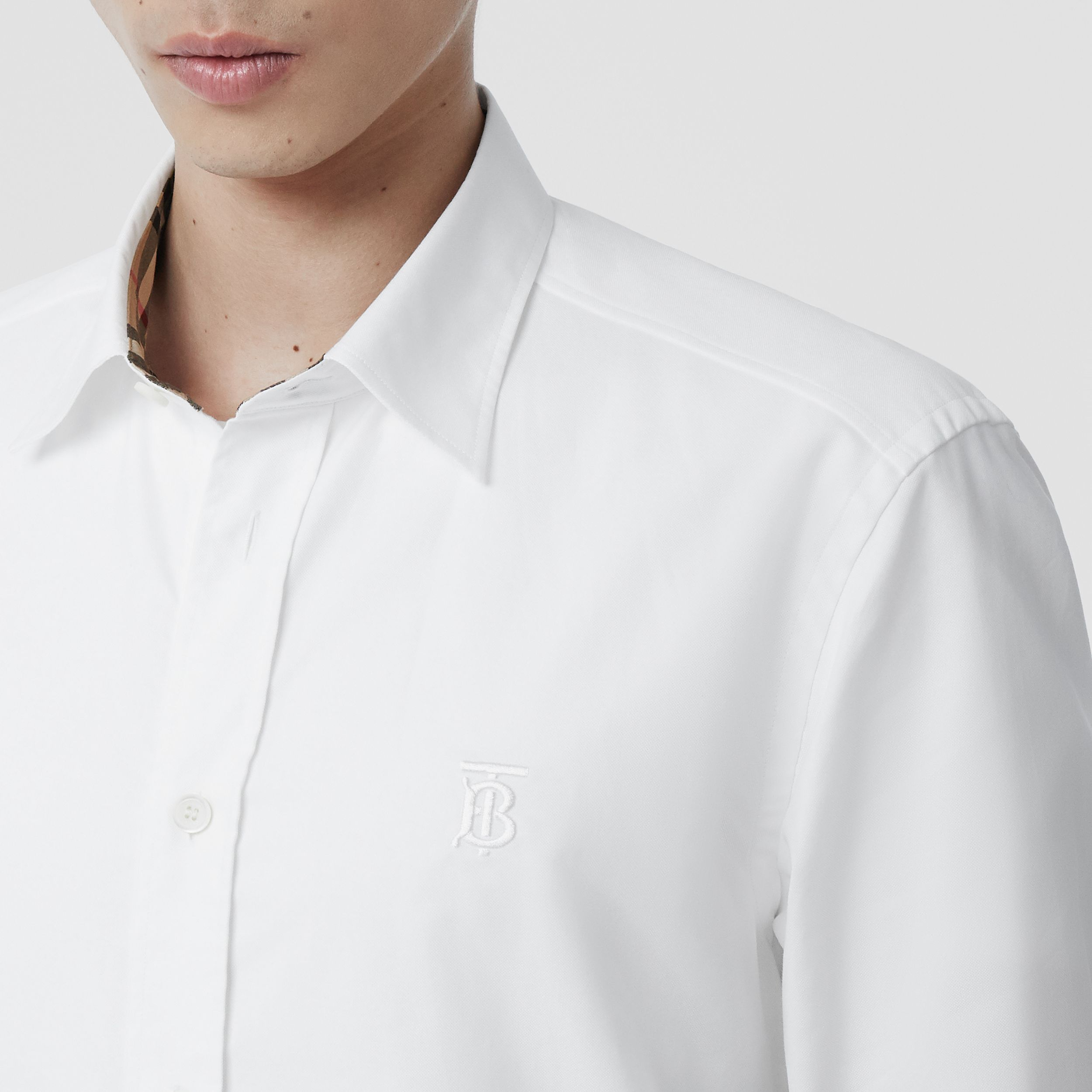 Monogram Motif Cotton Oxford Shirt in White - Men | Burberry - 2