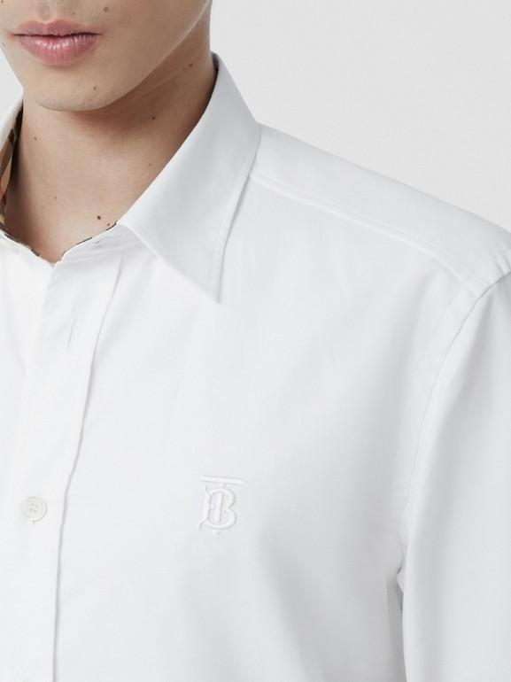 Monogram Motif Cotton Oxford Shirt in White - Men | Burberry Hong Kong S.A.R - cell image 1